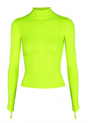 Adam Selman Sport Neon yellow ribbed-knit top