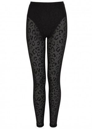 Adam Selman Sport Black leopard mesh leggings