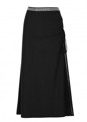 Adam Selman Sport Black embellished stretch-jersey skirt