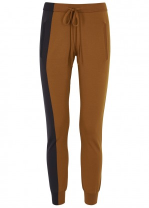 Adam Selman Sport Colour-blocked stretch-jersey sweatpants