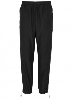 Adam Selman Sport Crystal-embellished shell sweatpants