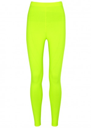 Adam Selman Sport Neon yellow ribbed-knit leggings