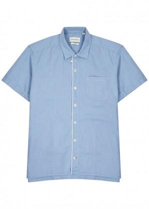 Light blue linen-blend shirt
