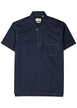 Oliver Spencer Navy linen-blend shirt