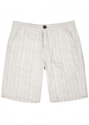 Oliver Spencer Stone striped linen-blend shorts
