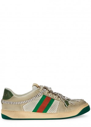 Gucci Screener embellished leather sneakers