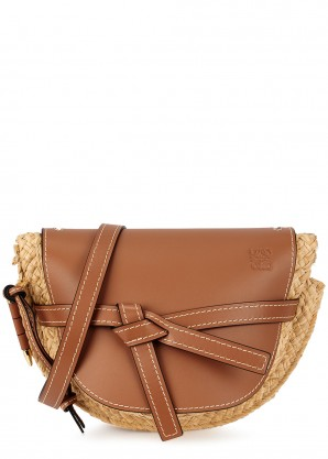 Loewe Gate small raffia saddle bag