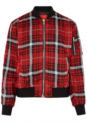 424 Plaid reversible silk bomber jacket