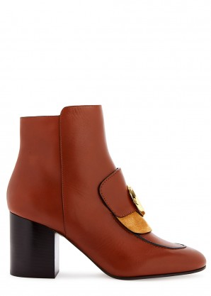 Chloé C 70 brown leather ankle boots