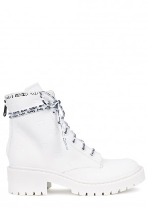 Kenzo Pike 50 white leather boots