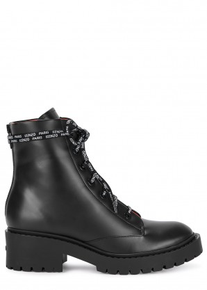 Kenzo Pike black leather ankle boots