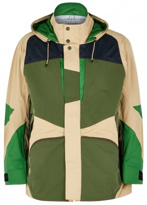 White Mountaineering Green panelled shell jacket