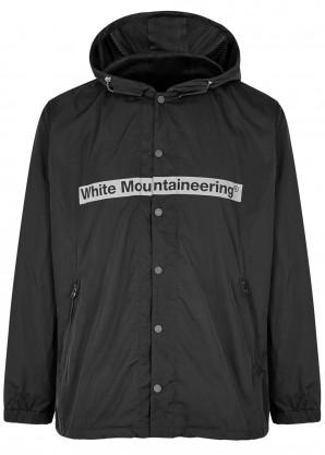 White Mountaineering Black logo-print shell jacket