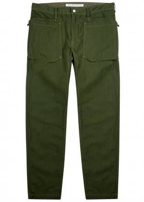 White Mountaineering Army green cotton trousers