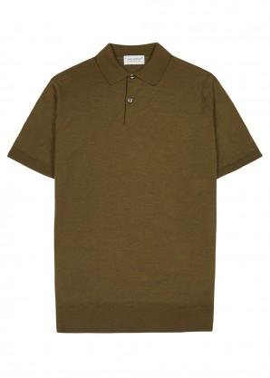 John Smedley Payton olive fine-knit wool polo shirt