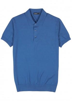 J.Lindeberg Ridge blue fine-knit cotton-blend polo shirt