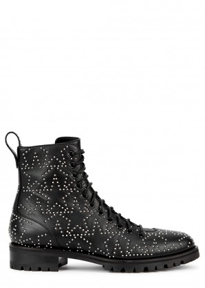 Jimmy Choo Cruz 40 black leather biker boots