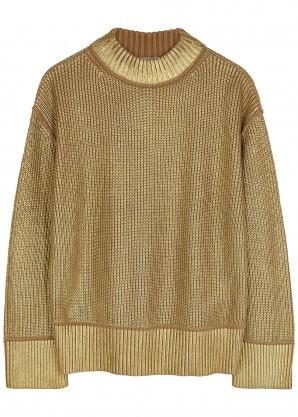 BOSS Fivian gold cotton-blend jumper
