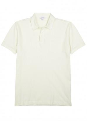Sunspel Riviera cream cotton mesh polo shirt