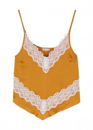 Free People Your Eyes gold satin cami