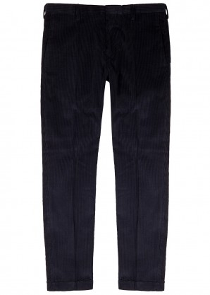 Navy cotton-blend corded trousers