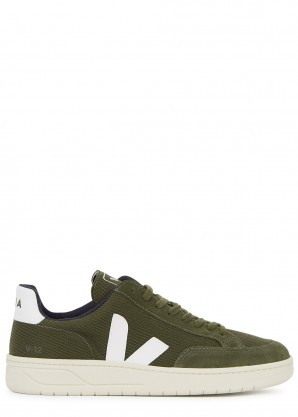 Veja V-12 army green suede sneakers