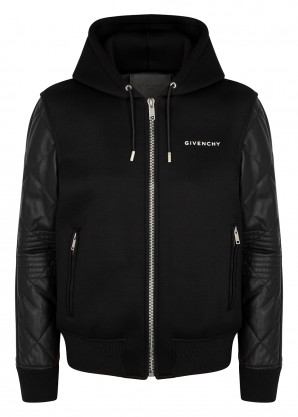 Givenchy Black neoprene and leather jacket