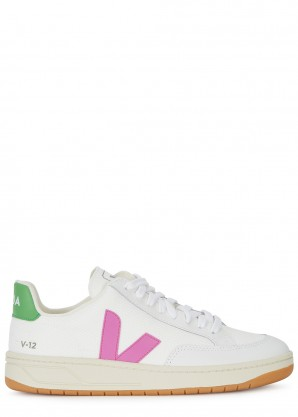 Veja V-12 leather and canvas sneakers