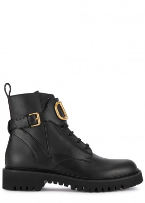 Valentino Garavani V Logo 50 black leather boots