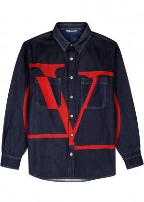 Blue logo-print denim overshirt