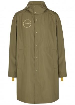 Helmut Lang Olive logo shell coat