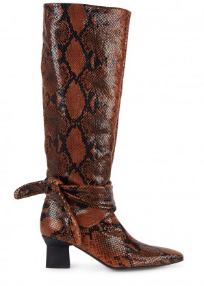 Rosetta Getty 65 python-effect leather knee boots