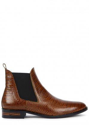 Freda Salvador Sleek 25 crocodile-effect leather Chelsea boots