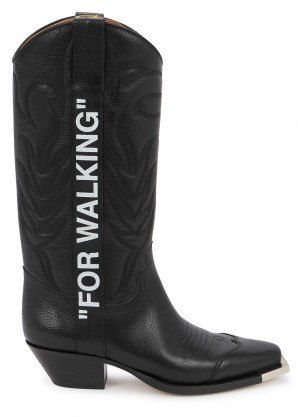 Off-White For Walking black leather knee boots