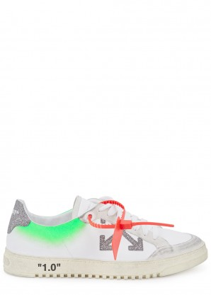 Off-White 2.0 white distressed leather sneakers