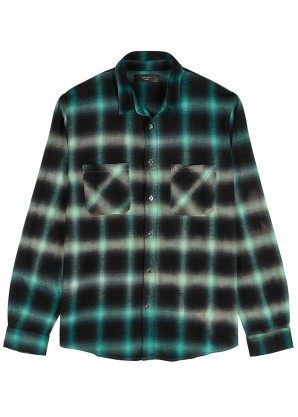 Amiri Checked brushed cotton-blend shirt