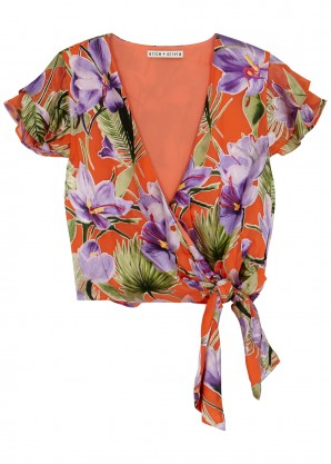 Alice + Olivia Zabel floral-devoré wrap top
