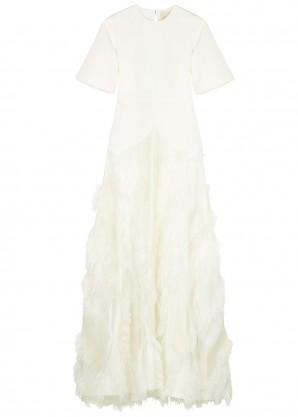 Roksanda Chandra feather-embellished silk gown