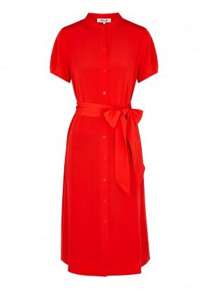 Diane von Furstenberg Addilyn red silk shirt dress