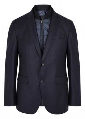 Navy layered wool blazer