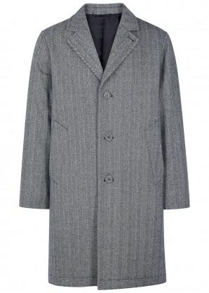 Officine Générale Arthur grey herringbone wool-blend coat