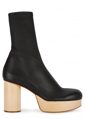Jil Sander 100 black stretch-leather ankle boots