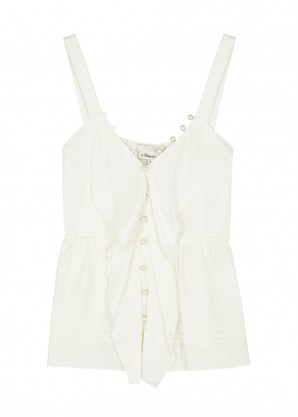 3.1 Phillip Lim Ivory faux pearl-embellished satin top