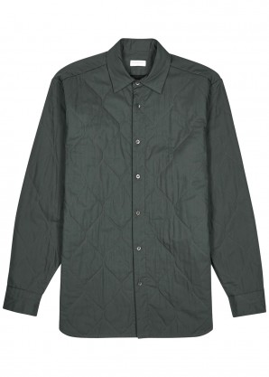 Grey quilted cotton-blend jacket