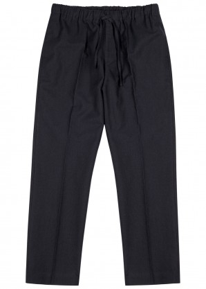 Dries Van Noten Perkino navy cotton-blend trousers