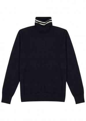 Tintin navy fine-knit wool jumper
