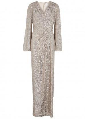 Pamella Roland Silver sequin gown
