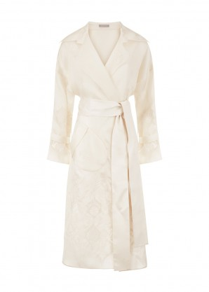 Varana White embroidered organza trench