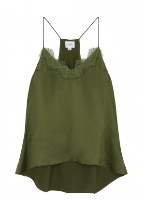 Cami NYC The Racer green silk top