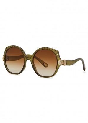 Vera olive oversized sunglasses